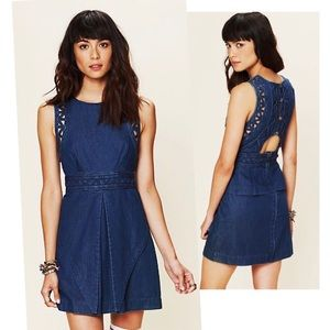 Free People New Romantics Denim Dress Button Back